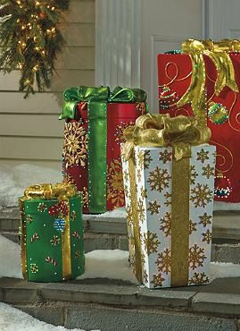 Passersby will delight in the cheerful Green Fiber-optic Gift Box that dazzles with an ever-changing light display.