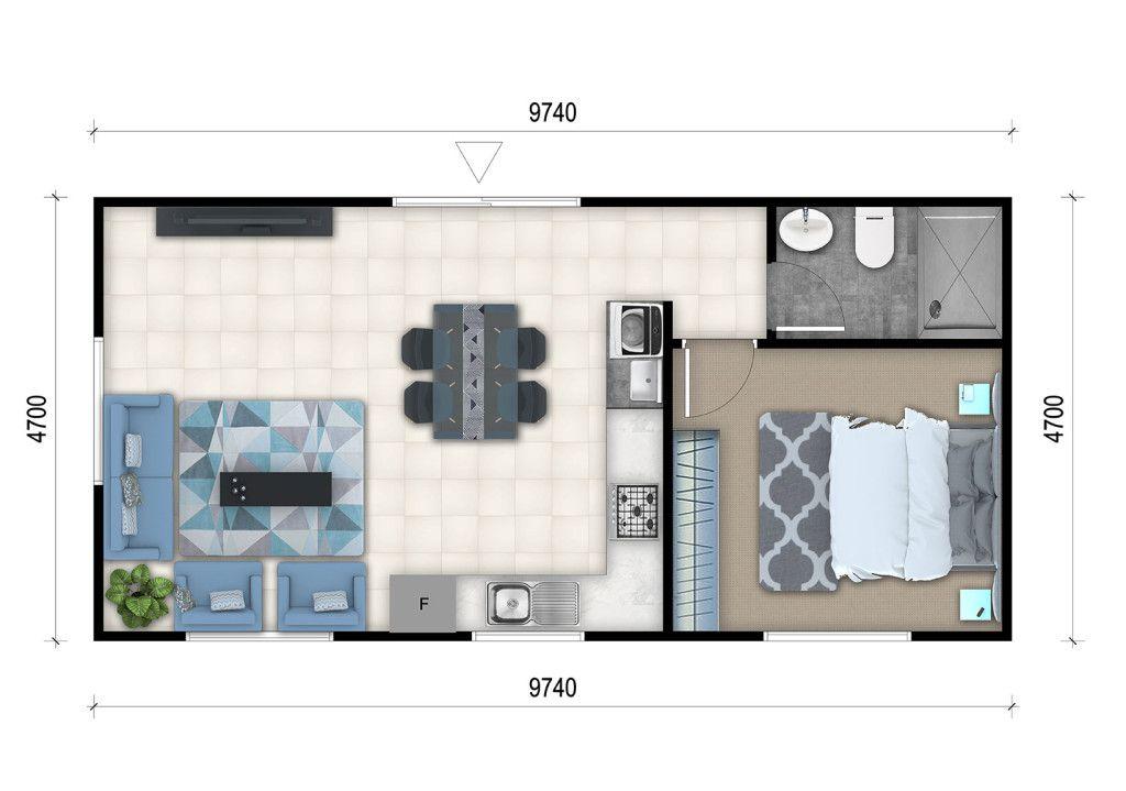 1 Bedroom Granny Flat Designs 1 Bedroom Granny Flat Floor Plans Granny Flat Plans Flat Plan House Plans