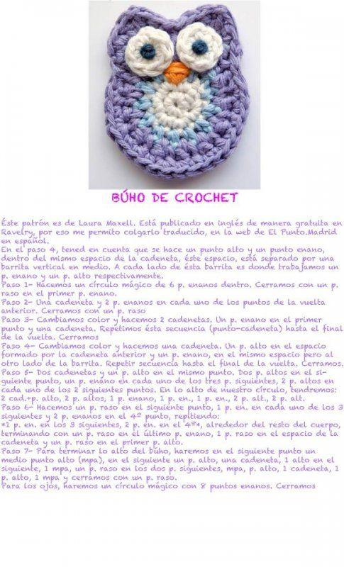 buho_de_crochet | Crochet | Pinterest | Ganchillo, Tejido y Apliques