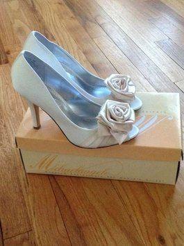 Michaelangelo Davids Bridal Satin Ivory High Heel Peep Toe Calista Wedding Shoes