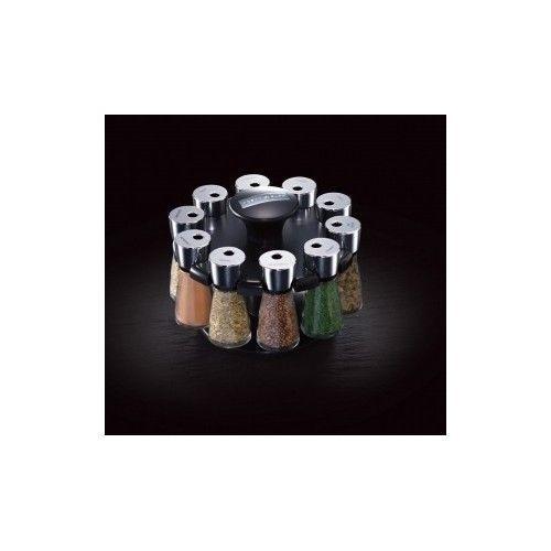 Spice Herb Rack Carousel Jar Holder Kitchen Storage Cabinet Black Organizer Pack