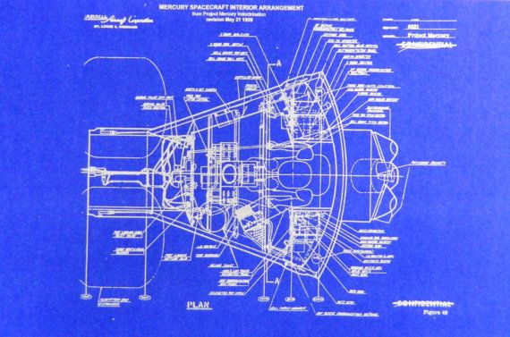 Nasa Mercury Capsule Blueprint By Blueprintplace2 On Etsy Gemini