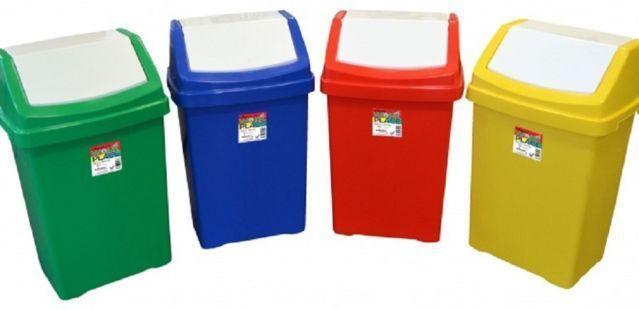 50L Plastic Swing Lid Bins,Recycling Bin Waste Bin Kitchen Home Office  Rubbish #Plastic