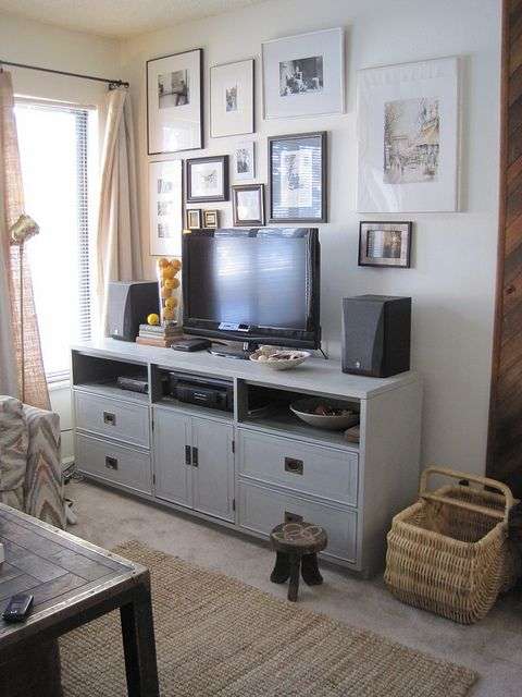 Nasty '80s dresser, now an awesome media console. LOVE this idea!