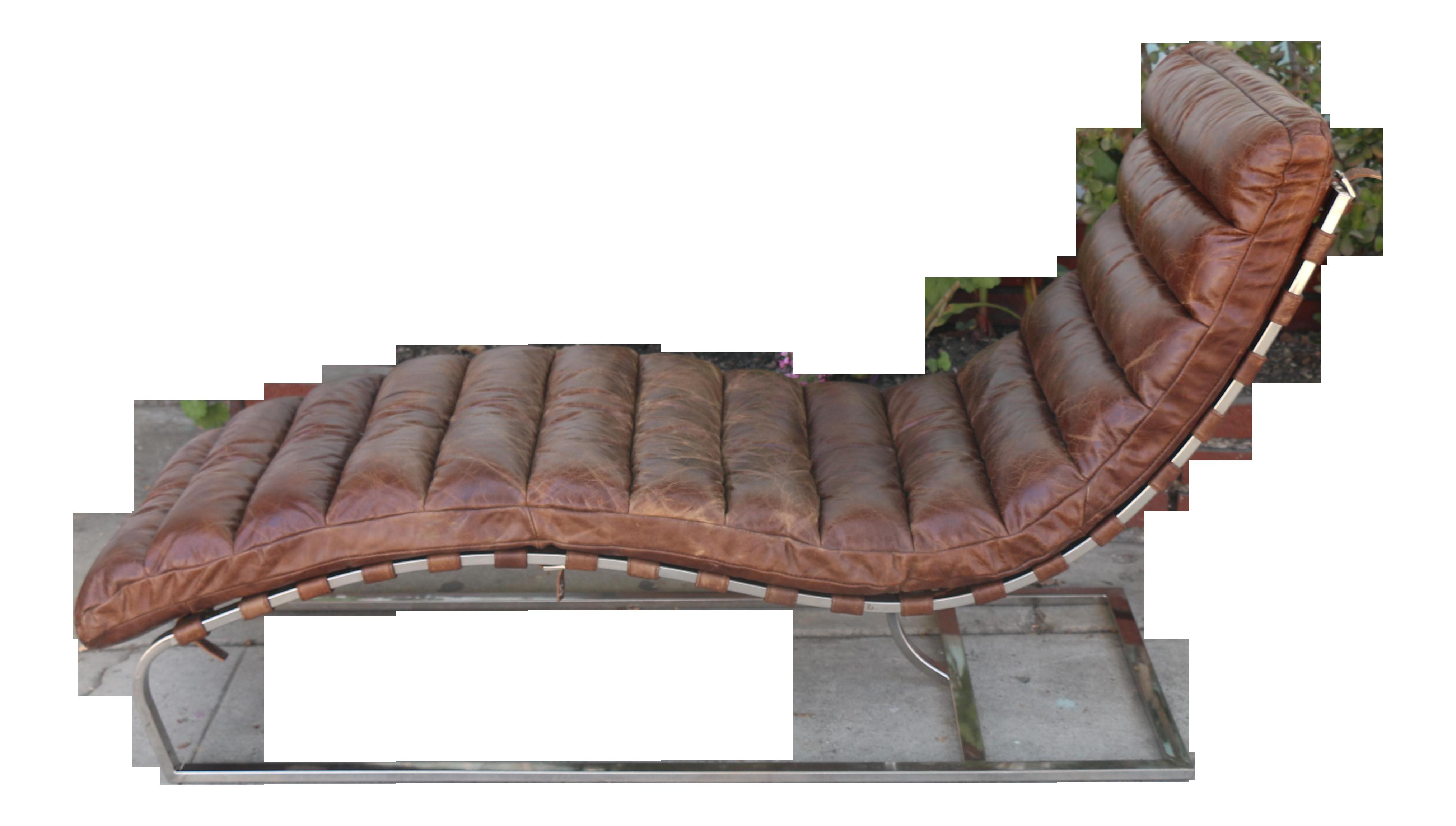Restoration Hardware Leather Chaise Lounge On Chairish Com