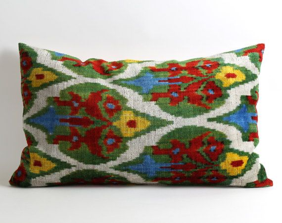 16X26 Pillow Insert Moroccan Pillow Ikat Velvet Pillow Cover 16X26 Red Green  Guest