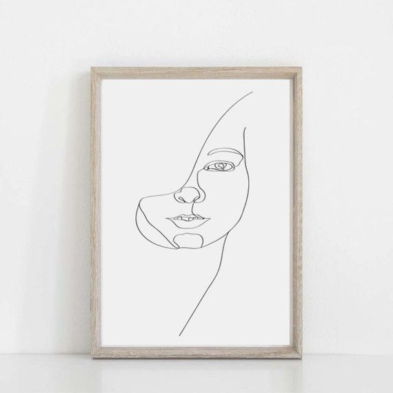 5dd22866d7f Minimalist Print Single Line Art Face Drawing Black And White Art Girl Face  Downloadable Prints Sket