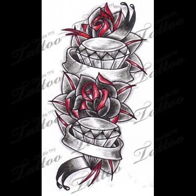 Marketplace Tattoo Roses \u0026 Diamonds Tattoo with Banners