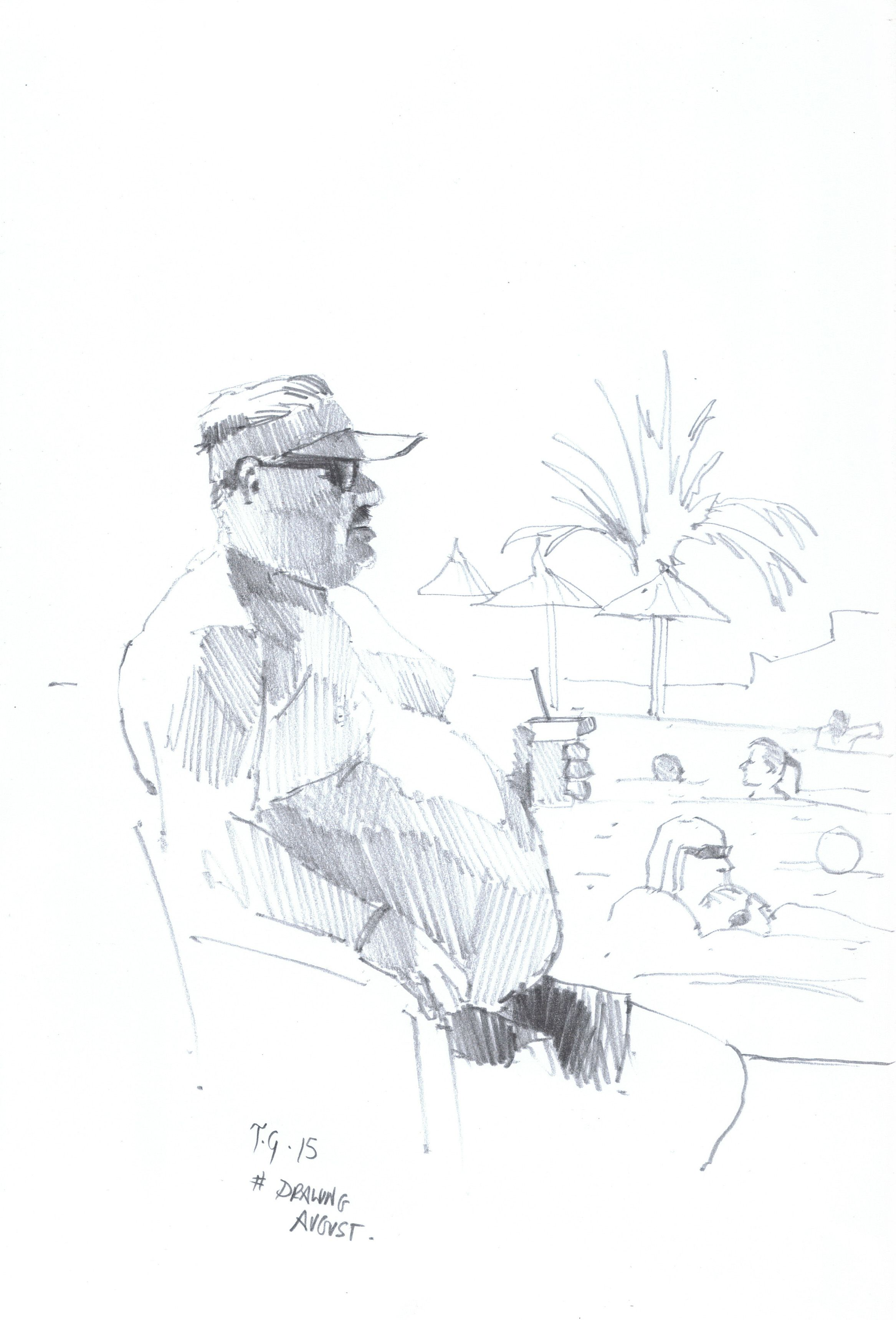 Drawingaugust thedailysketch quick pencil sketch of a holiday maker by the pool while on