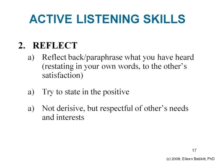 active listening reflection Active listening reflection the active listening study performed in class was, in my opinion, a fun and information e exercise the study was a memory retention test.