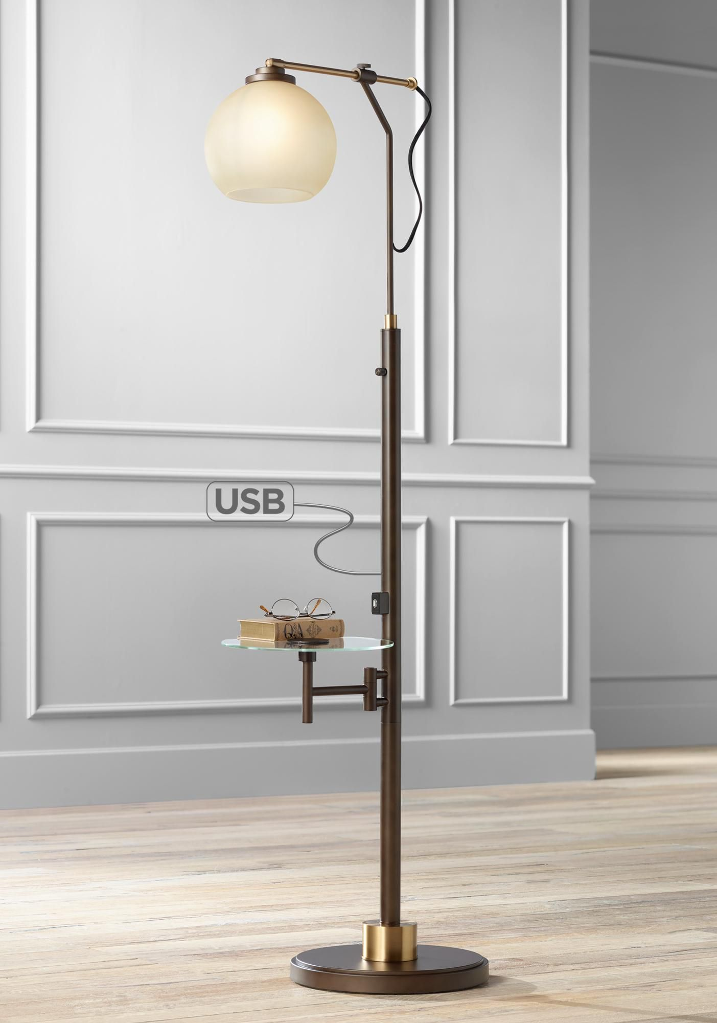 Floor Lamps Jobe Industrial Floor Lamp With Tray Table And Usb Port Table Lamps For Bedroom Industrial Floor Lamps Lamps Living Room