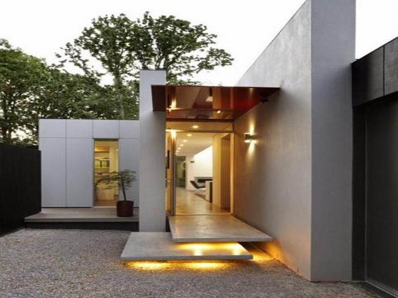 Modern Single Story House Plans With Nice Lighting Architecture Architect Design Entrance Design