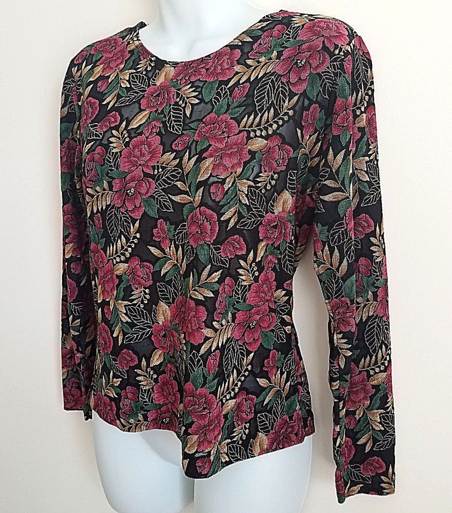 FRAZIER LAWRENCE BLACK PINK FLORAL SHEER LONG SLEEVE KNIT SHIRT TOP BLOUSE MED #FRAZIERLAWRENCE #KnitTop