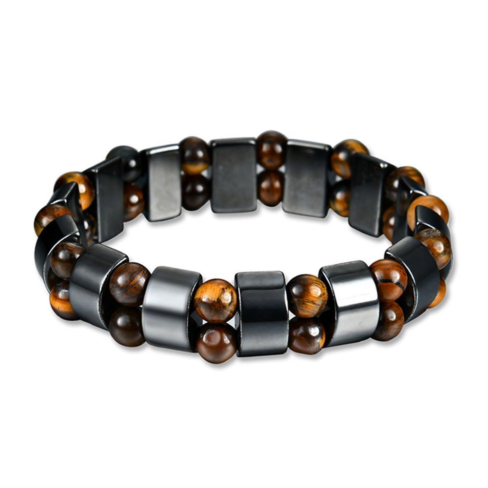 Vintage unisex artificial hematite wood beads magnetic bracelet