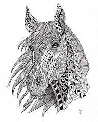 Black And White Zentangle Wild Horse Drawing Print Malvorlagen Pferde Ausmalbilder Mandala Tiere