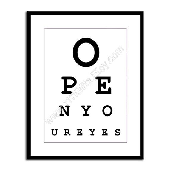 Open Your Eyes Funny Eye Chart 8x10 Digital Print Wall Decor Printable Instant Download Eye Chart Eye Chart Printable Wall Decor Printables