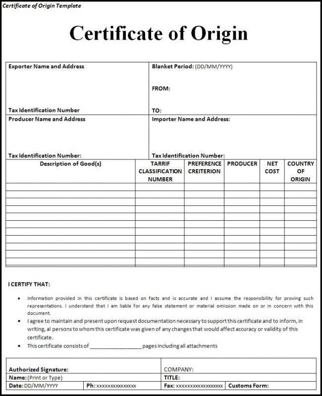Certificate Of Origin Template Template Pinterest Certificate