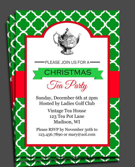 Christmas Tea Party Invitation Printable By Thatpartychick
