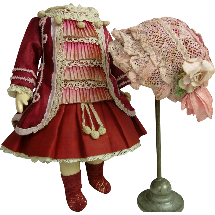 French tiny burgundy silk one-piece dolls dress and matching bonnet