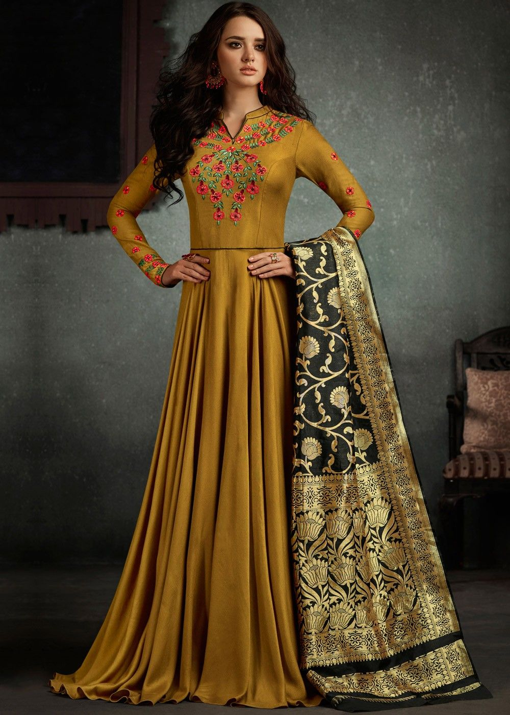 964bf44e122b Readymade Beige Indian Gown in Rayon with Dupatta in 2019 ...