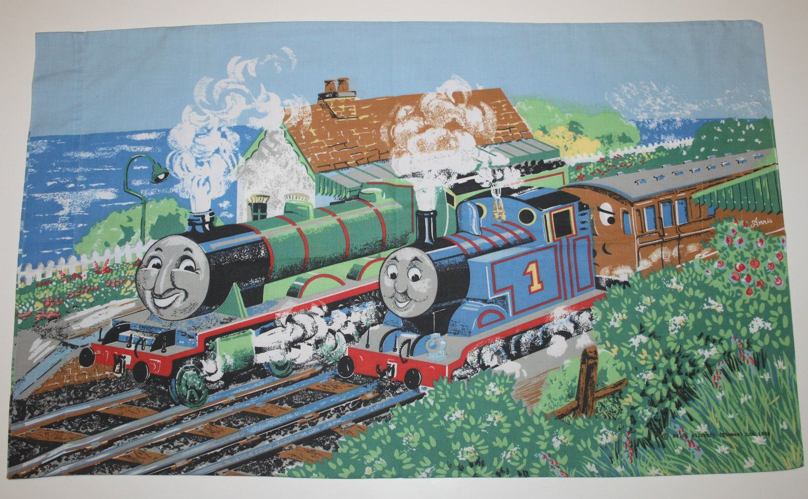 Thomas The Train Pillowcase Beauteous Vintage Britt Allcroft 1989 Thomas Train Tank Engine Duvet Cover Decorating Inspiration