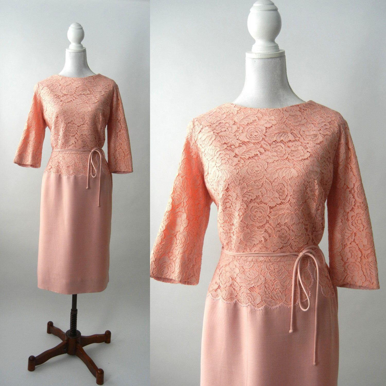 Lace dress 50s  Vintage s Pink Dress s Pink Lace Dress Retro s Dress