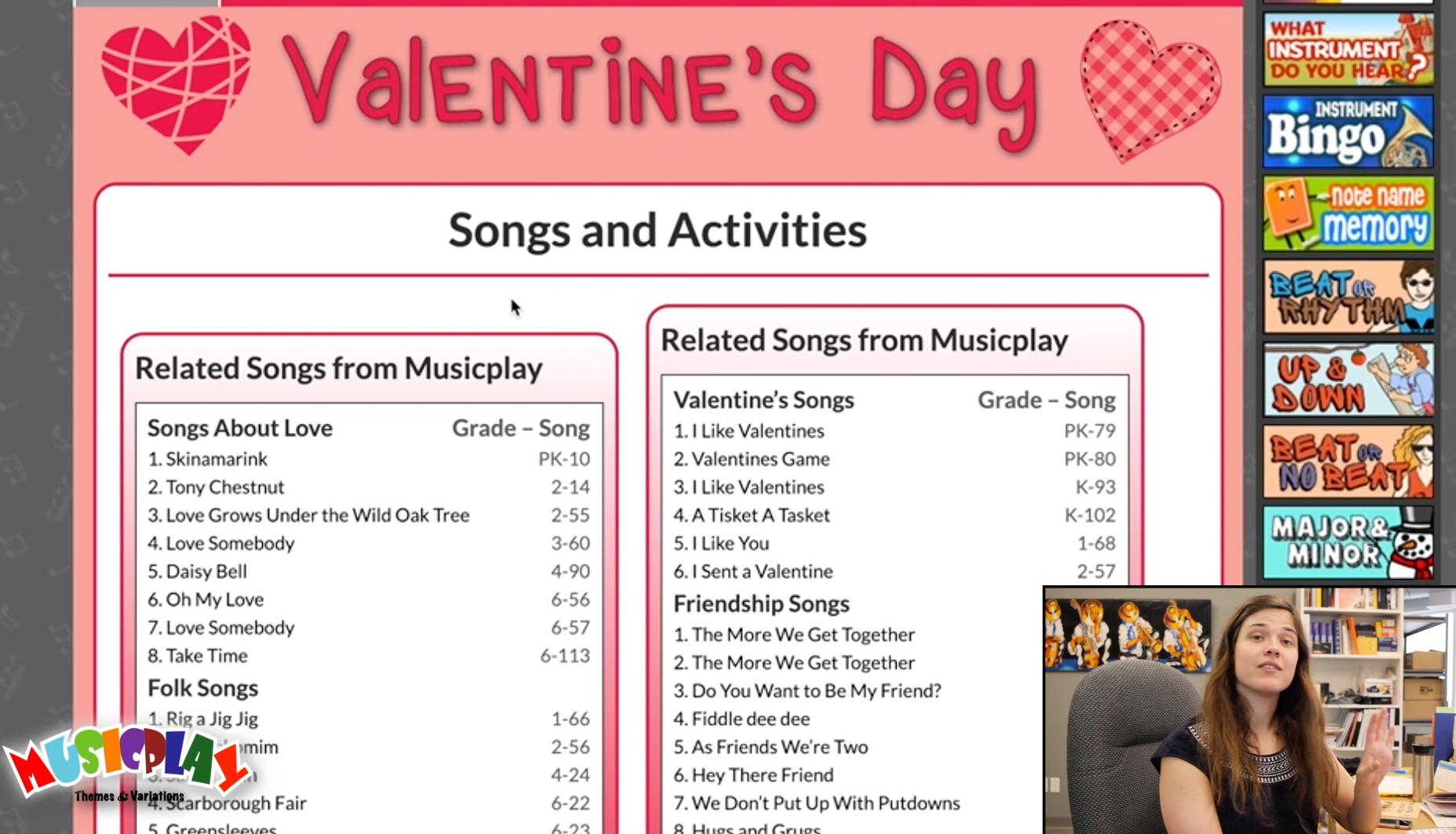 Valentines Days Unit on MusicplayOnline   Valentine songs