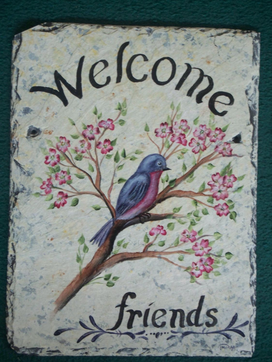 decorative welcome signs | hand painted personalized rooster slate