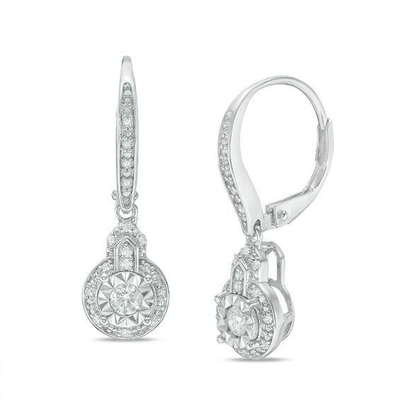 Zales 1/4 CT. T.w. Baguette and Round Diamond Swirl Drop Earrings in Sterling Silver with 14K Gold Plate HQeYBP