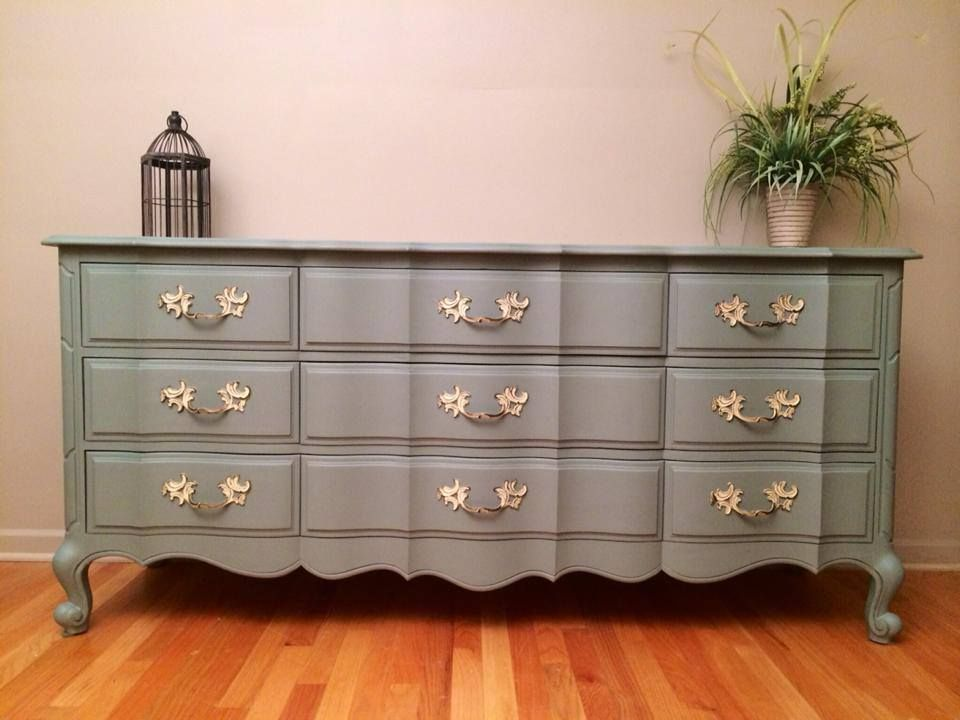 French Provincial Dresser Painted Sage Green By Twice