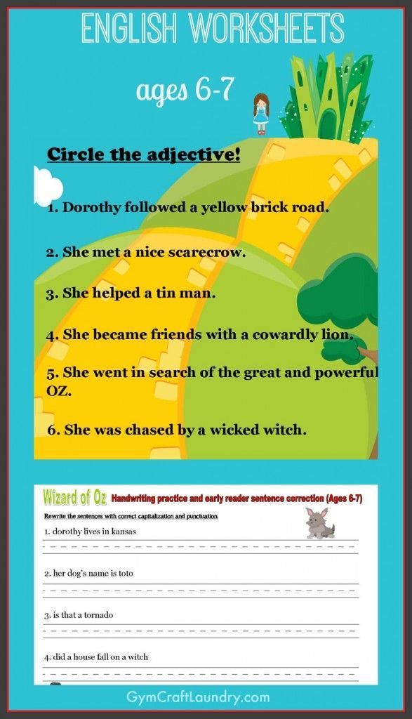 First Grade English Worksheets Wizard Of Oz Themed Pinterest