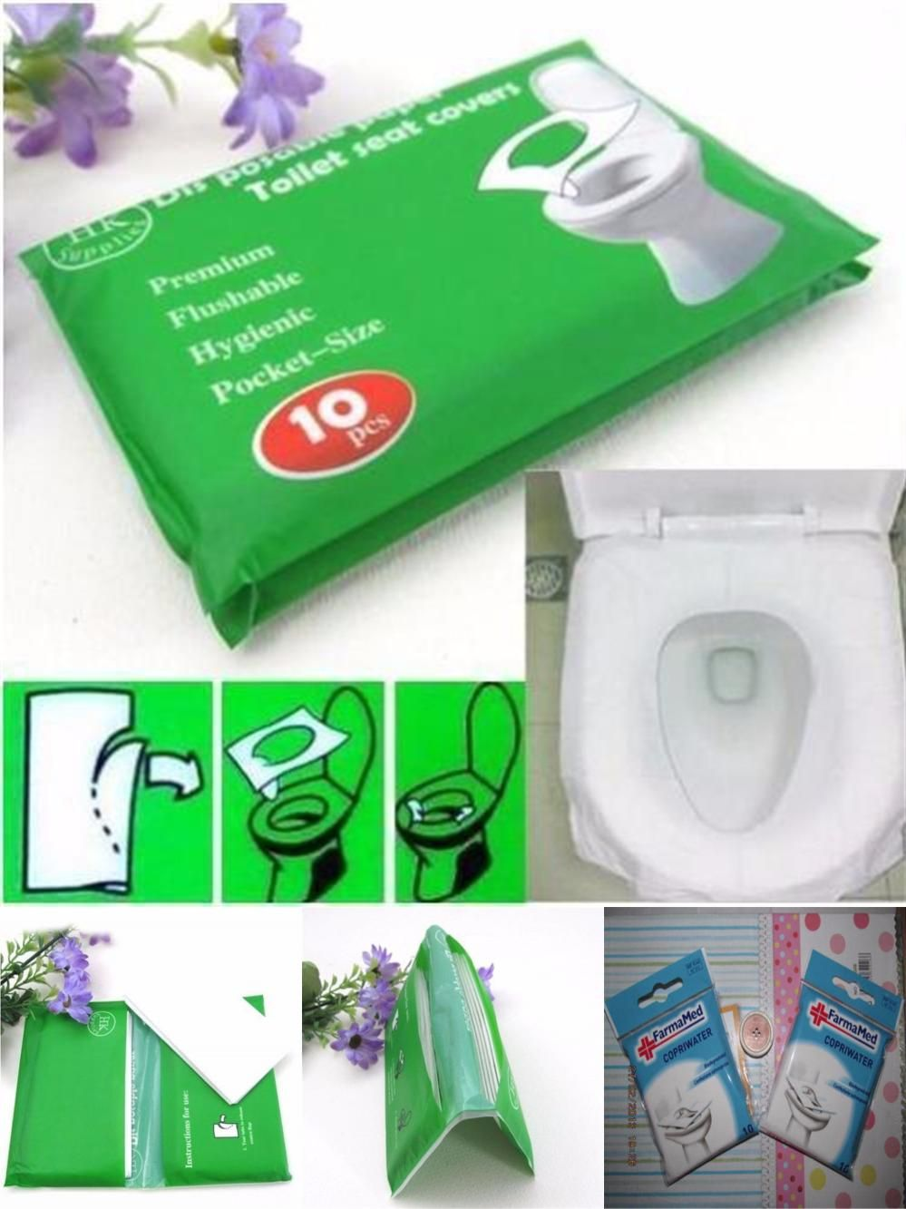 Visit To Buy Hot Sale 10pcs Lot High Quality Waterproof Sterilized Toilet Seat Paper Covers Mat Disposable Adverti Toilet Seat Cover Toilet Seat Seat Covers