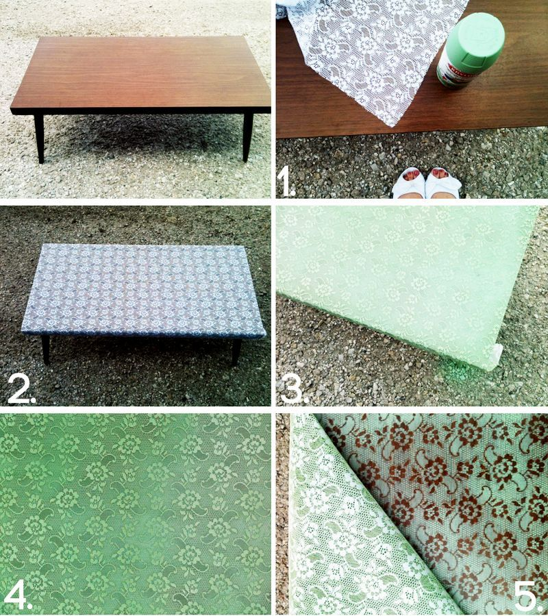 put lace over an old wooden coffee table, and spray paint over it