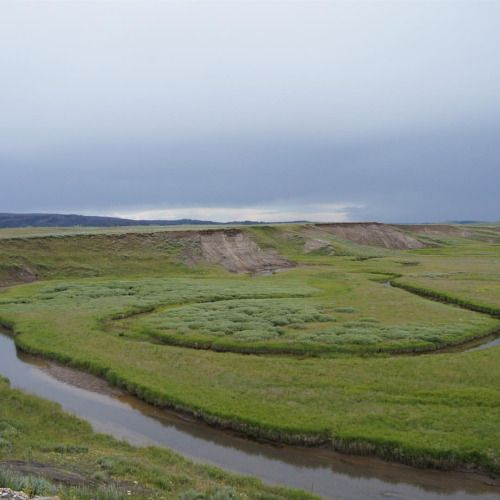A meandering creek inside Yellowstone National Park. I loved the creek's loops in the verdant valley with stormy skies above.