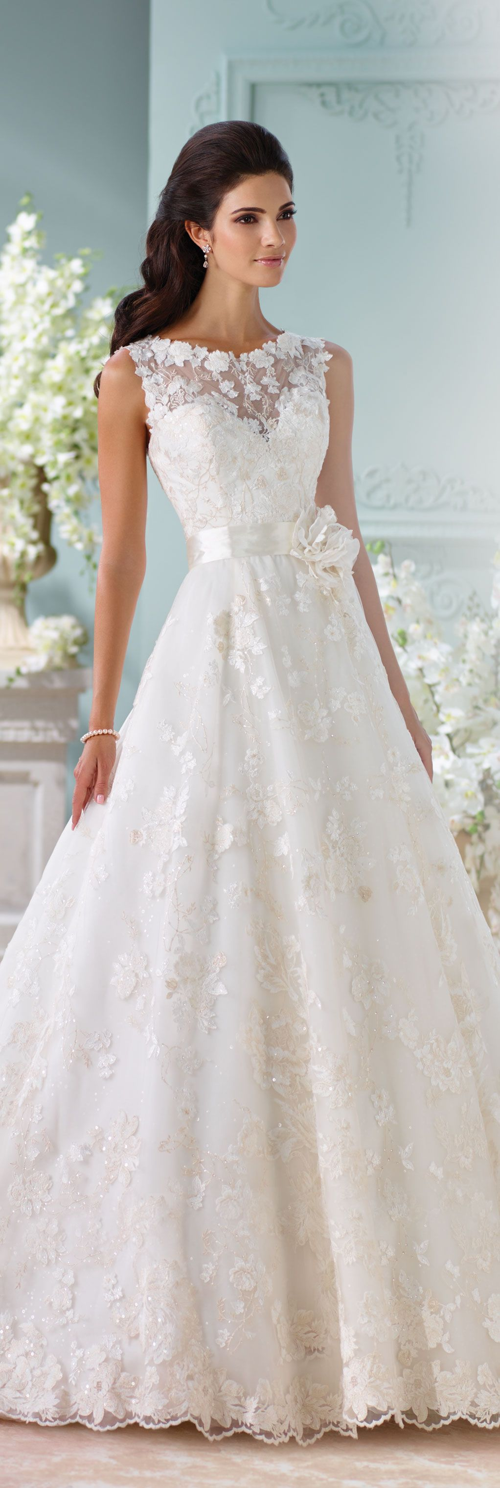 Satin Sequin & Tulle Lace A Line Wedding Dress Kyra