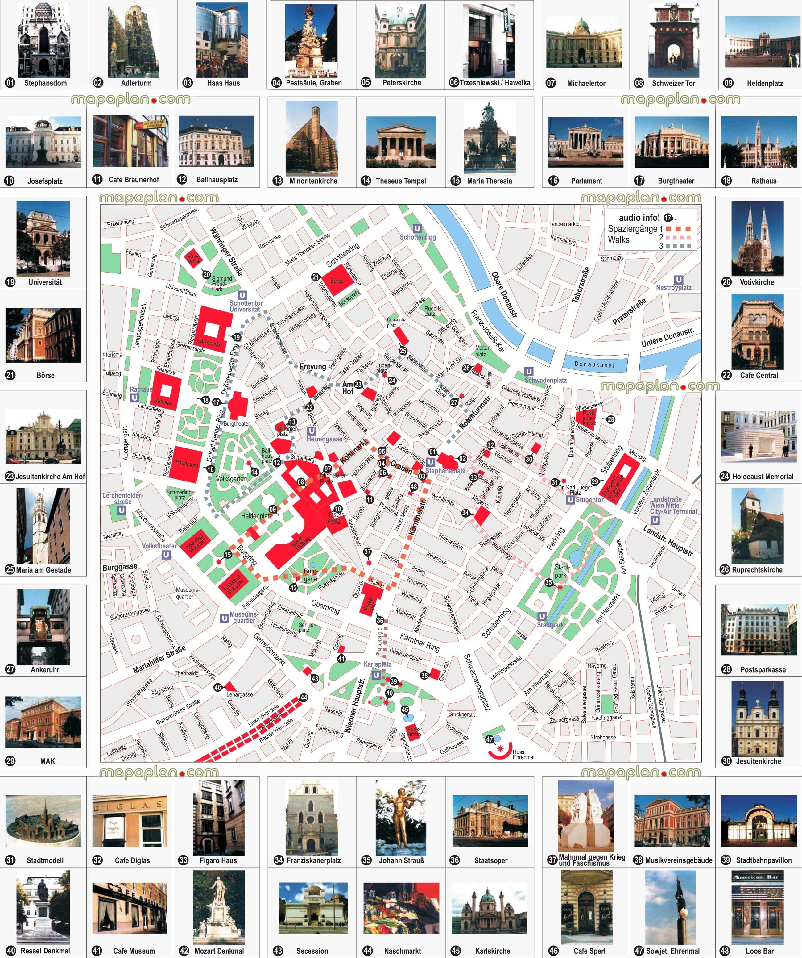Vienna City Centre Free Travel Guide Must See Sights Best Destinations Visits Vienna Top Tourist Attractions Map Vienna Map Vienna Tourist Map Vienna City Map