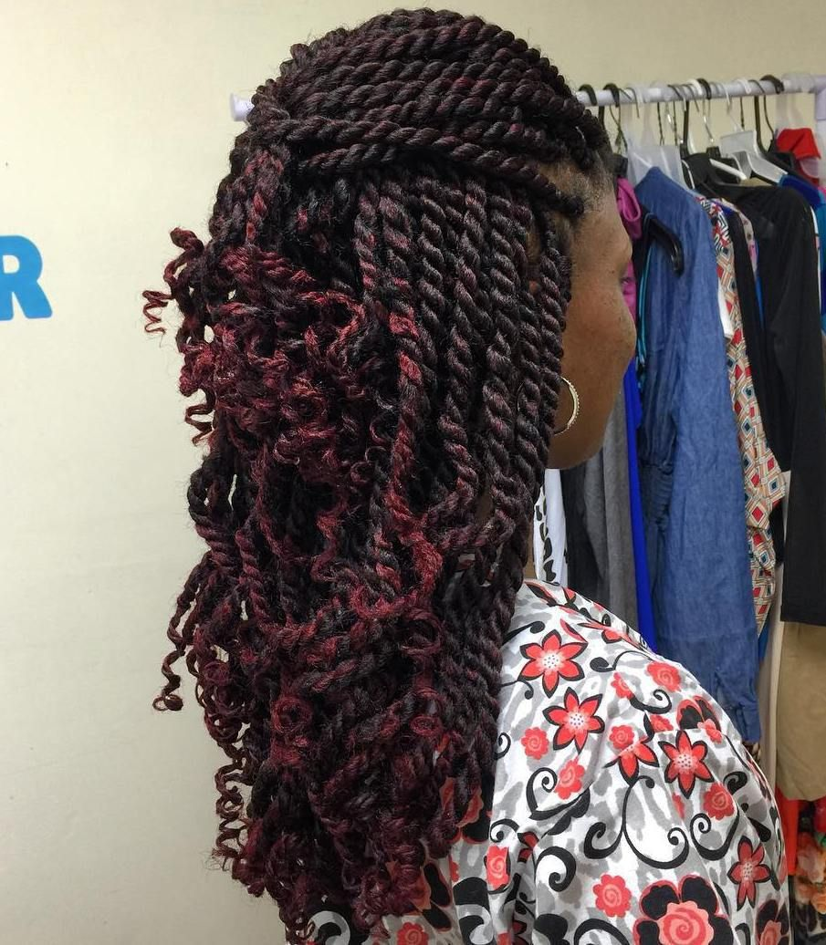 hot kinky twists hairstyles to try in burgundy highlights