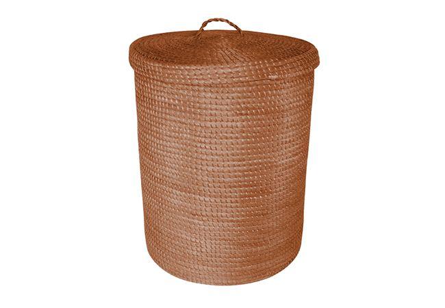 cesto para ropa hecho con fibra de hilos de henequen