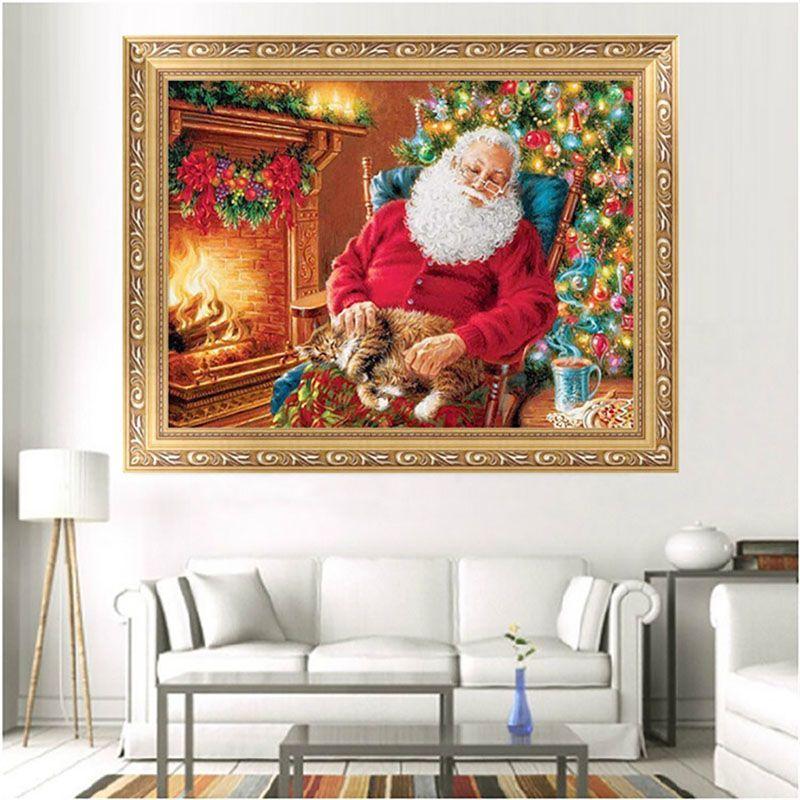 DIY 5D Santa Claus Embroidery Painting Cross Stitch Needlework Mosaic Home Decor