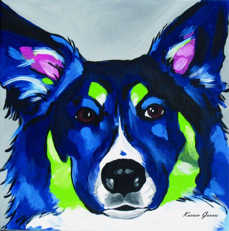 Border Collie Australian Shepherd Print Pop Art Pet Portraits Dog Art Art