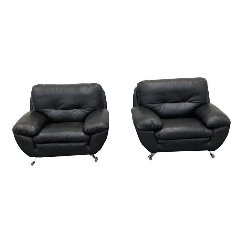 5e6a2381b5562 Mid-Century Modern Black Leather Club Chairs - a Pair