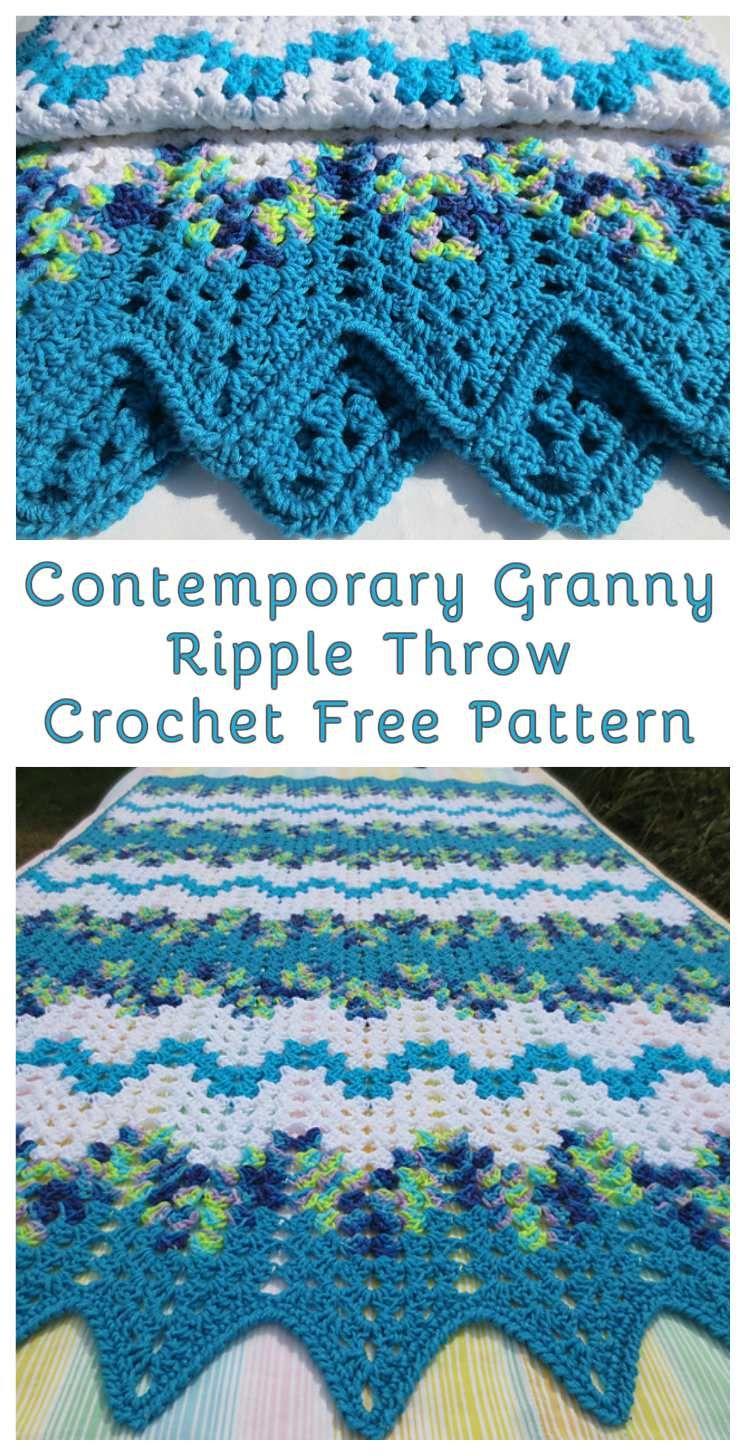 Contemporary Granny Ripple Crochet Throw - Free Pattern | Free ...