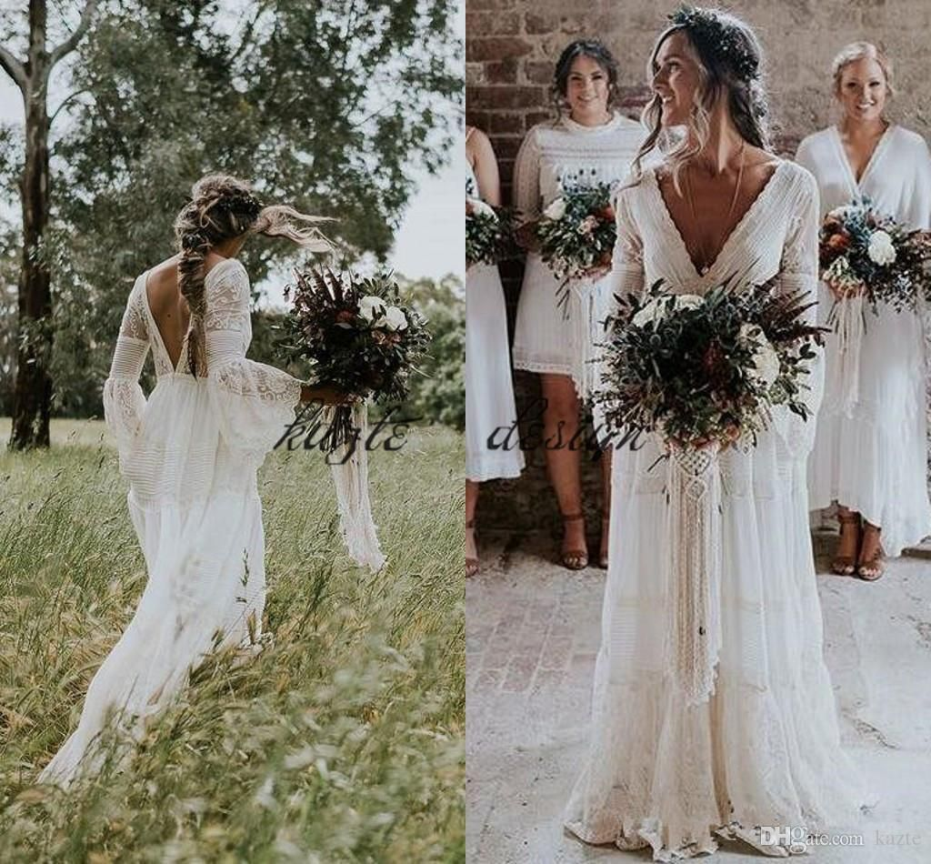 Discount2018 Gwendolyn Bohemian Wedding Dresses V Neck Lace Vintage Summer Bridal Wedding Dress France Charming Hot Gelinlik Vestido De Noiva From Kazte 141 3 Bohemian Wedding Dress Lace Country Bridal Gown Backless