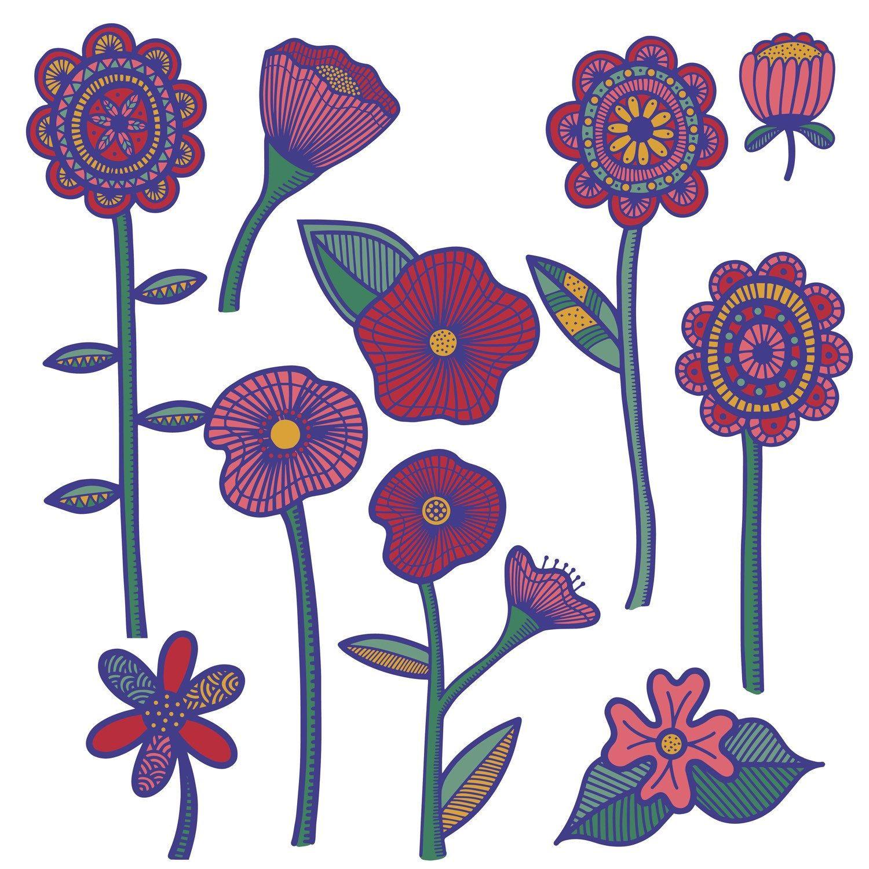 flowers clipart clip art hand drawn flowers instant download rh pinterest ca