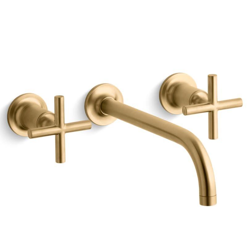 Kohler K-T14414-3 Purist Wall Mount Bathroom Faucet - Without Drain ...