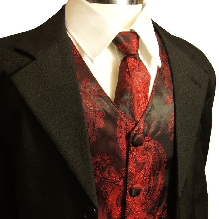 Paul Malone Red And Black Paisley Tie Vest Wedding Tuxedoswedding