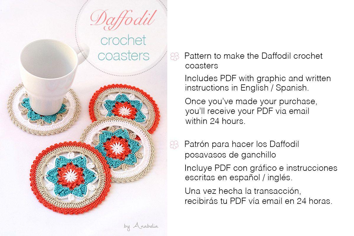 Daffodil crochet coasters by Anabelia | Crochet | Pinterest
