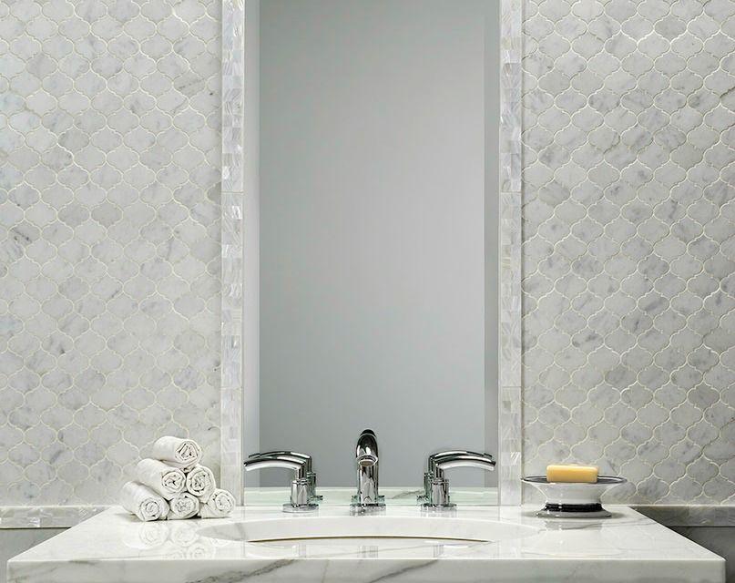 Bianco Carrara Marble Arabesque Mosaic Backsplash In Powder Room