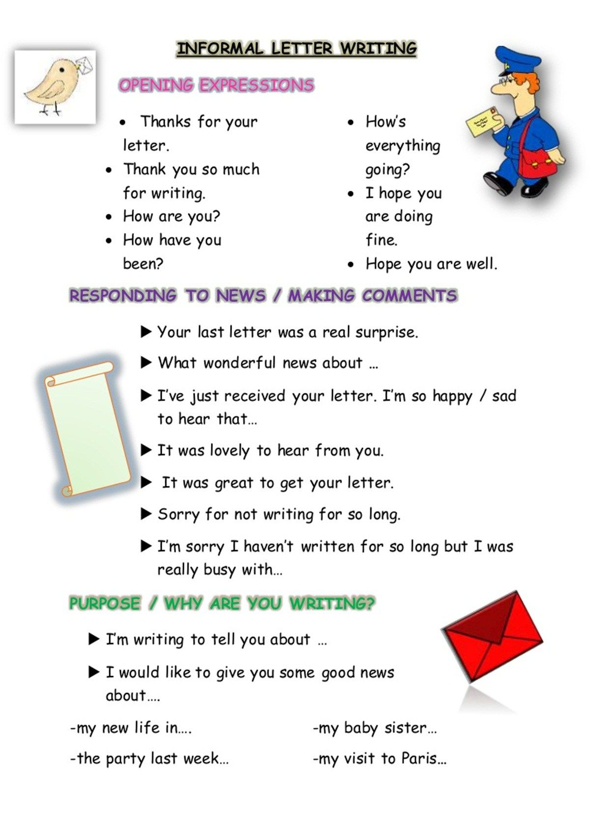 How To Write Informal Letters In English With Examples Learning