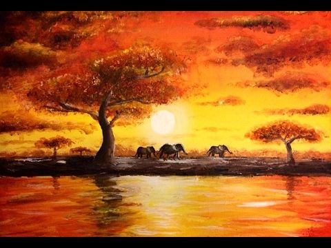 Painting An African Landscape With Acrylics In 10 Minutes Youtube Sunset Canvas Painting Sunset Painting African Art Paintings